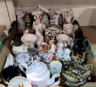 A selection of miniature china and glass