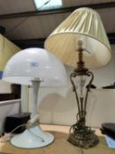 A 1960's white plastic table lamp with mushroom shade; a gilt metal and glass table lamp