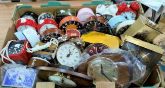 A large selection of unused mantel/alarm clocks