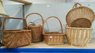 A collection of baskets; 3 'printers trays'; 2 old buckets; knick-knacks; etc.