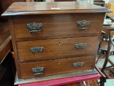 An Edwardian mahogany miniature 3 height chest of drawers, width 47 cm