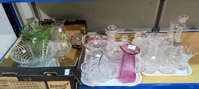 A 19th century cranberry jug and glassware