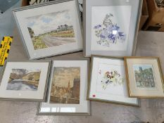 A selection of modern floral watercolours, framed and glazed