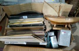 A selection of LP records; transistor radios; etc.