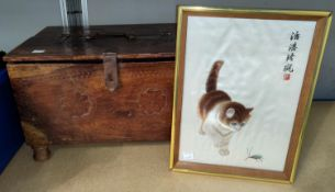 A Chinese silk picture of kitten stalking an insect, 28 x 18cm; a carved wooden box