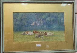 C E Bentley: Cattle lying down in a field, watercolour, signed, 25 x 44, framed; Rural landscape,