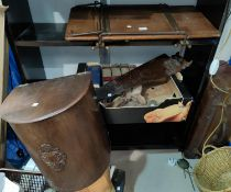 A vintage wooden trouser press, a vintage wooden saw, plane, bench mincer, level and a clock