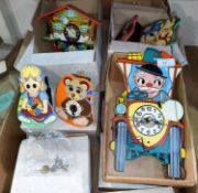 A selection of children's novelty clocks