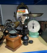 A Victorian style set of kitchen scales; a Salter scale; a coffee grinder; 2 parasols