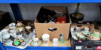 A Japanese part tea set; a modern Dresden fruit bowl; Royal commemorative ware; decorative china