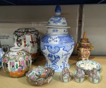 A selection of modern oriental decorative items