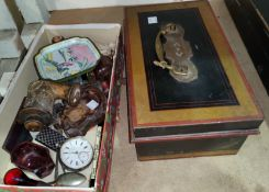 A hallmarked silver pocket watch, a lock box and other collectables