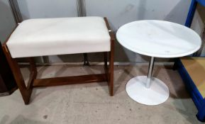 A Bagasse white composition circular pedestal table chrome column 51cm diameter and a dressing stool
