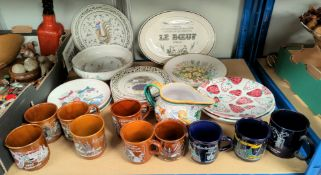 Six French collectors plates; other collectors plates; mugs; etc.
