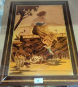 An Italian inlaid wooden Sorrento picture of a woman watching boats at sea 51x38cm