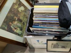 A selection of records and various pictures and prints