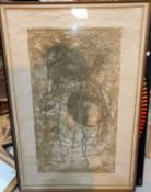 20th Century: female nude viewed from the rear, watercolour, signed indistinctly, 69 x 40 cm, framed
