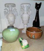 A high gloss glaze green studio pottery vase and similar brown glaze bowl; 2 alabaster coloured