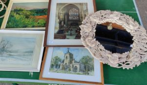A watercolour of Norbury Church, Hazel Grove; other pictures and mirrors