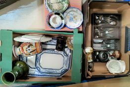 A selection of decorative china; stainless steel cutlery; etc.