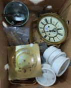 A Vienna wall clock dial and movement (not guaranteed complete); other clock parts; etc.