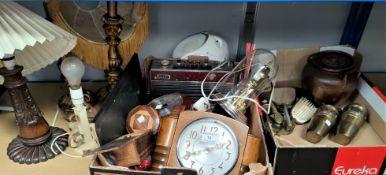 A 1930's mantel clock; treen; decorative items