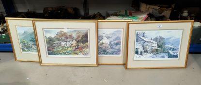Judy Boyes: Lakeland cottages, 4 limited edition prints, artist signed, framed and glazed