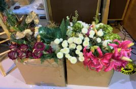 A large quantity of artificial flowers