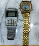 A gilt Casio Alarm Chrono and a similar watch