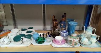 A selection of decorative pottery, including Royal Lancastrian vase (chip to rim) Chinese ginger jar