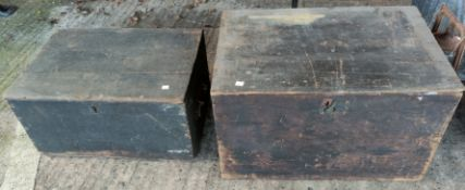 Two wooden 'artillery' boxes