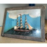 A miniature model 3 masted ship in glass case, Length 9cm & a similar under glass dome