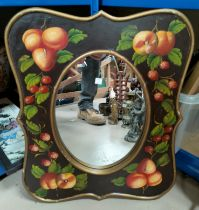 A Victorian oval dressing table mirror in free standing frame (1 hinge replaced); a wall mirror in