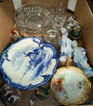 A pair of Delft plates and a selection of decorative china