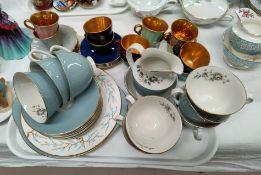 "A Royal Doulton ""Rose Elegans"" part tea set, 18 pieces; a Wade harlequin 6 piece part coffee set;"