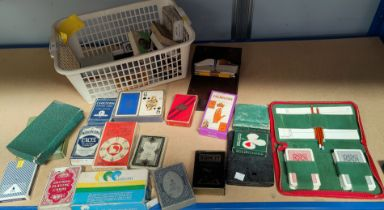 A selection of boxed playing cards: Palmistry; I Ching; Wheel of Fortune; etc.