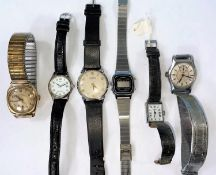 A 9ct gold cased gent's Rotary wristwatch on a gilt strap and a selection of vintage wristwatches