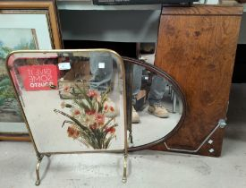 A Victorian brass fire screen with mirror panel decorated with flowers, 60cm high, an oval