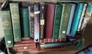 A selection of various leather bound books; other hardback books