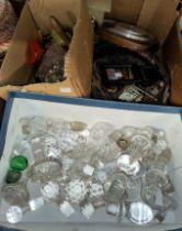 A selection of decanter stoppers, costume jewellery etc