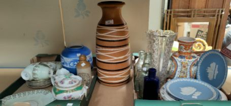 A 1970's German 'lava' type vase, height 43 cm; Wedgwood collectors plates; decorative china and