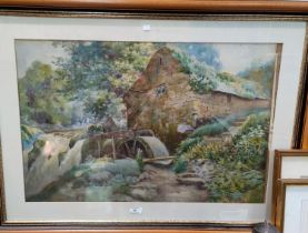 ENGLISH SCHOOL late 19th century, watercolour of a watermill in rural setting with ferns, unsigned