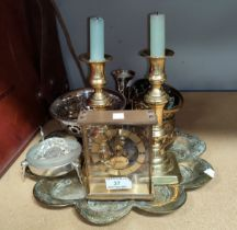 A mid 20th century 'Uwestra' unusual skeleton/mantel clock in gilt metal; decorative brassware; etc.