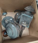 A 19th century coach lamp; kettles; metalware
