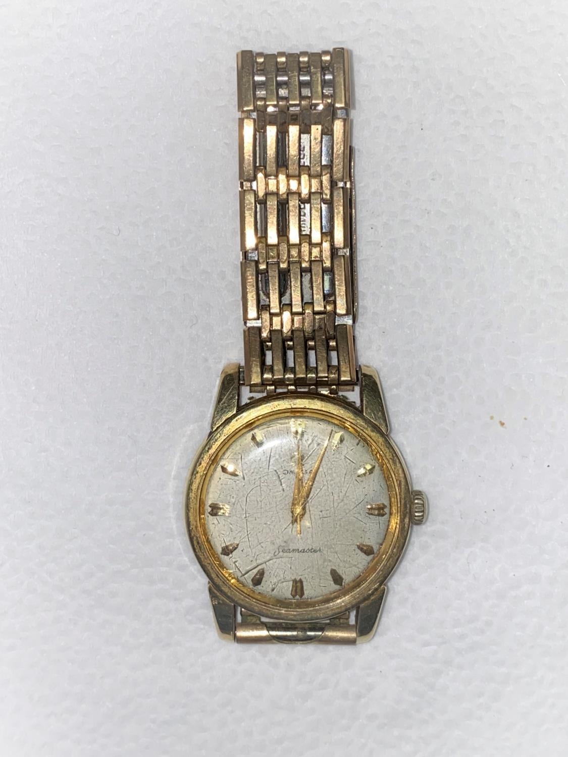A vintage Omega Seamaster 17 jewel wristwatch with baton numerals and center seconds hand, no - Image 4 of 4