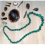 A malachite necklace, a large oval agate brooch in gilt surround, seed pearl and turquoise