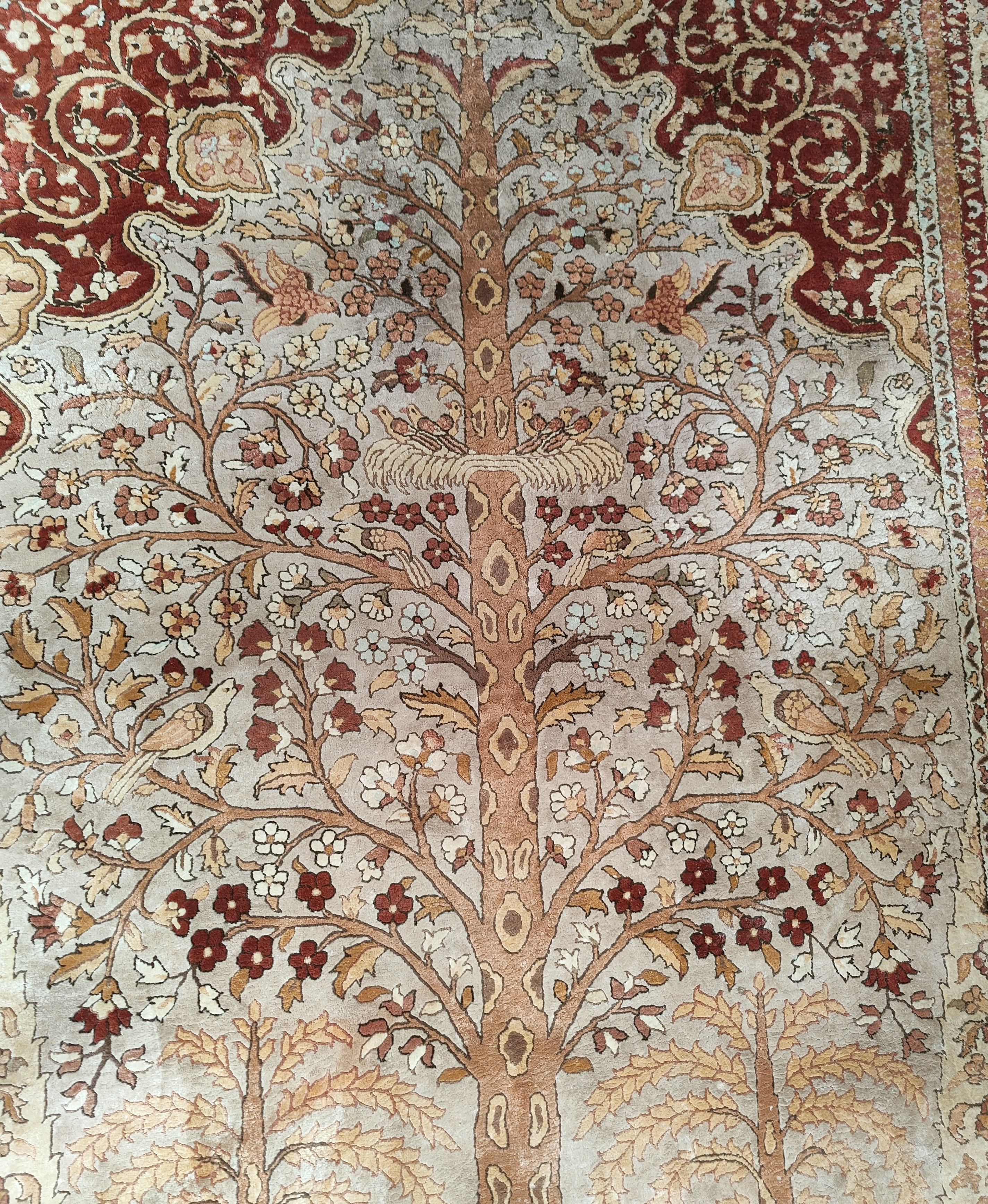 A mid 20th century Chinese silk carpet with Tree of Life pattern in the Persian manner, 6' x 9' - Image 2 of 4