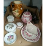 A selection of Royal Worcester pin dishes and lidded pots, 2 pieces of Mason's Manchu, Studio