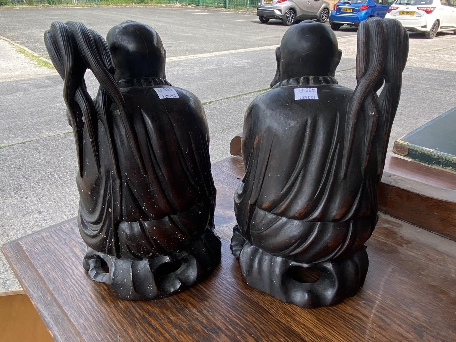 Two Chinese carved hardwood figures of seated sages height 25cm - Image 3 of 3