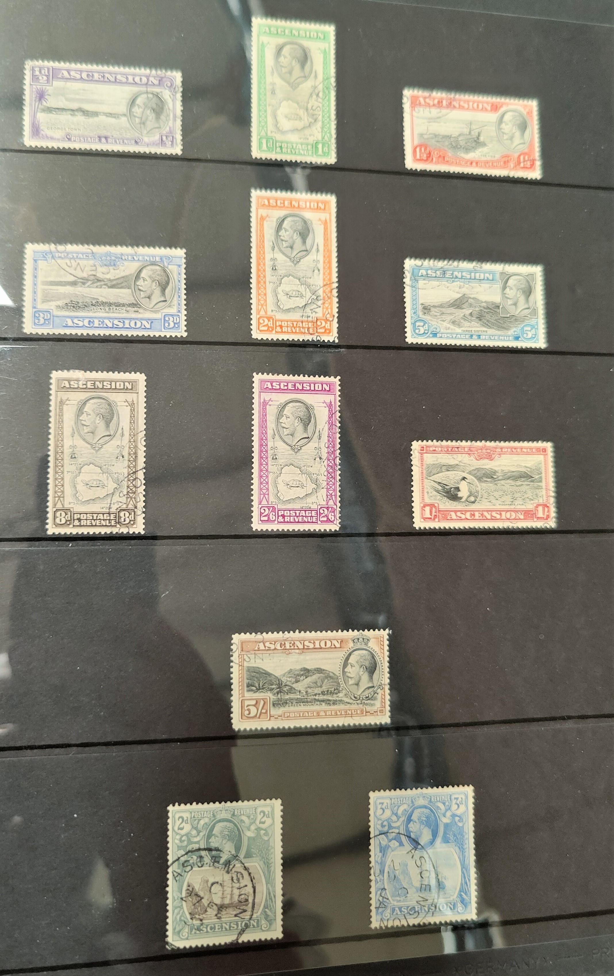 A British empire collection in stock album to include Ascension, Bahamas GV to 10's, Barbados,